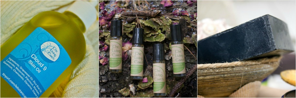 A sampling of products available from Living Earth Botanicals: cloud 9 oil, orange + lavendar aromatherapy, charcoal soap