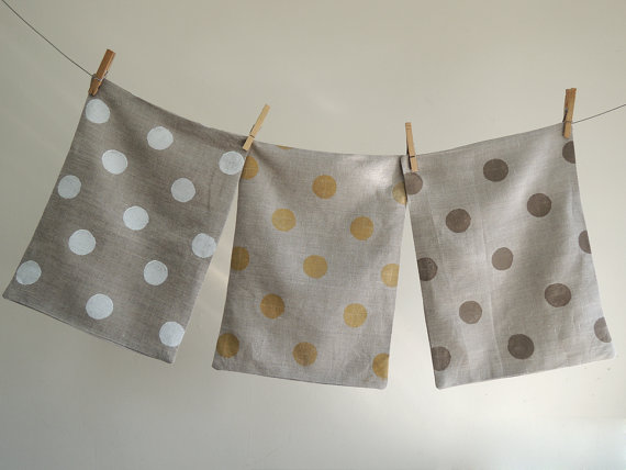 polka dotted linen pillow case from Giardino