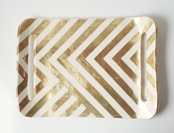 gold zig zag  tray  from up in the air somewhere