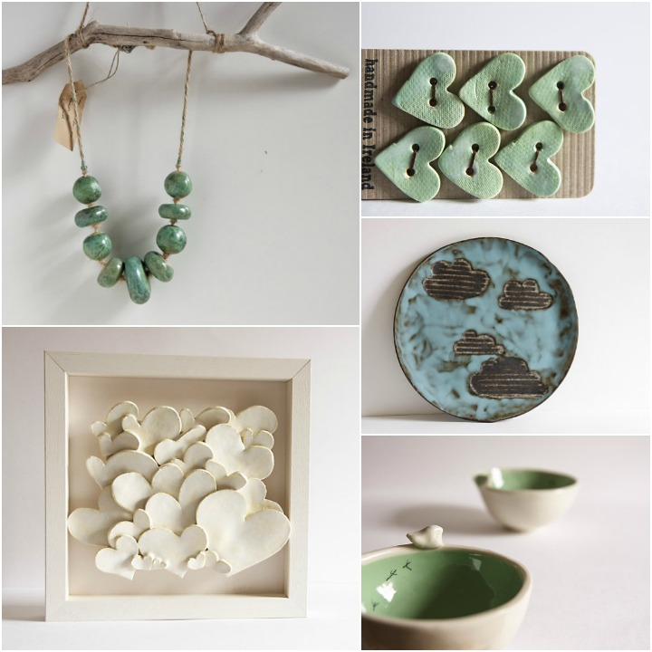 a sampling of Karo's work: necklace, buttons, cloud plate, tweet bowls, hearts