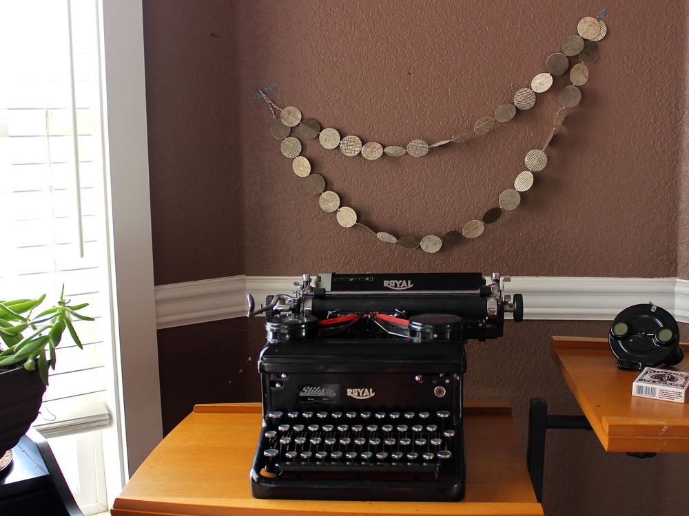 vintage typewriter and a garland from the shop