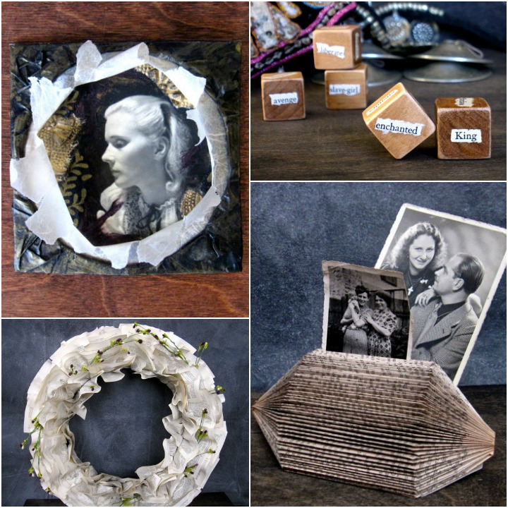 a sampling of Jennifer's work: collage,  dice,  paper note holder, wreath