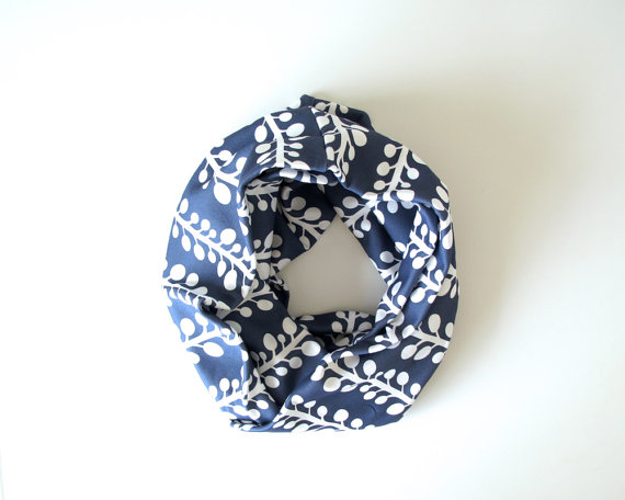 infinity scarf in navy blue with orchid vines print