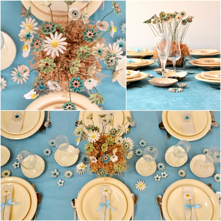 Lots of flowers make this Spring table work. Photos by Orly Pittel and Talila Ivgi. Flowers by Orly Design.