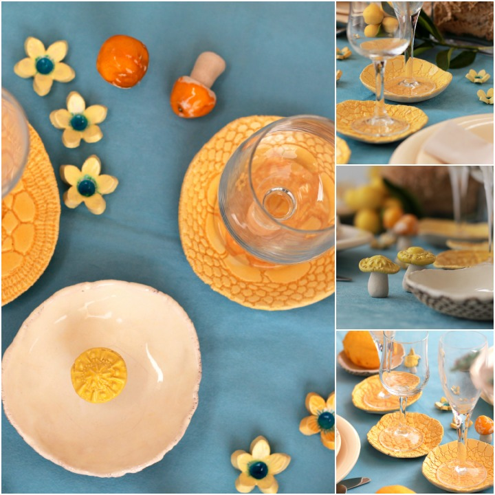 By adding various shades of yellow and pops of orange the tabletop totally transforms. Lace bowls, flowers and mushrooms by Orly Design.