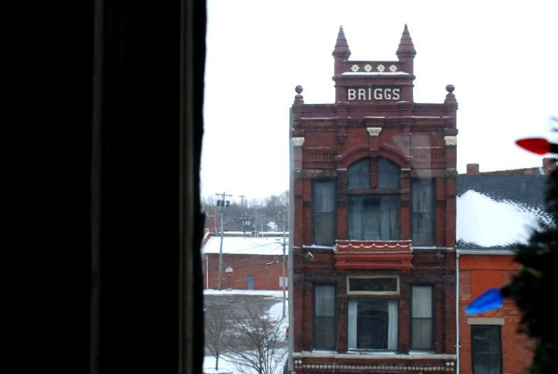 a view from the studio of the Briggs building in downtown Albion