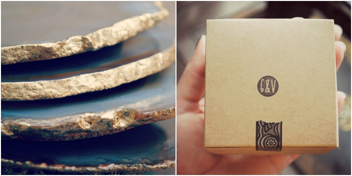 Gold edged agate coasters and gossamer and violet packaging.