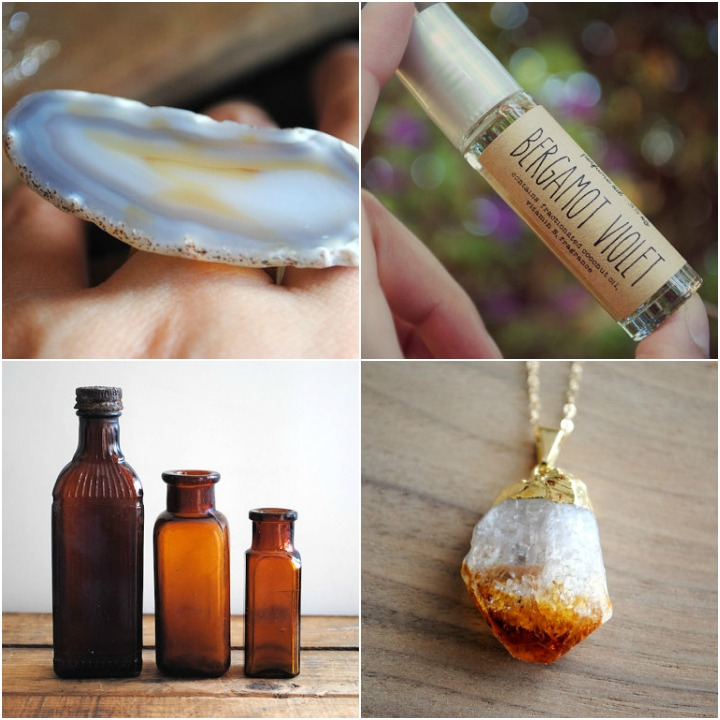 a mix of finds from Adriana's three shops: agate slice ring, bergamot violet roll on perfume, vintage amber bottles, raw citrine pendant necklace
