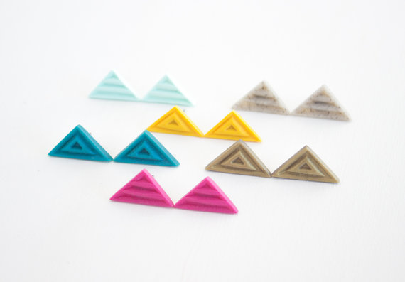 Giveaway item TWO. A sampling of colors in the triangle stud earring design. The lucky winner will get a pair in granite gray.