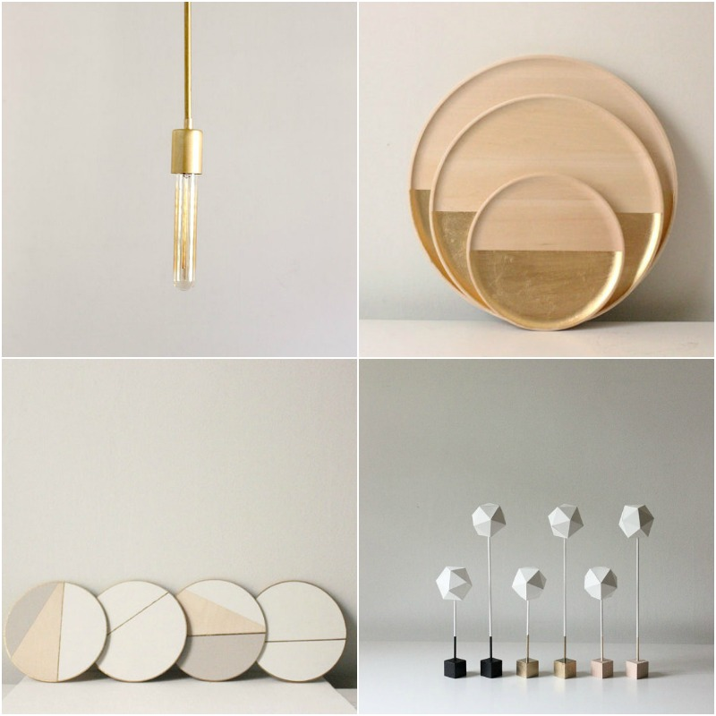 a sampling of items from The Vintage Vogue :: brass light, wood gold leaf tray, line coasters, paper sculptures