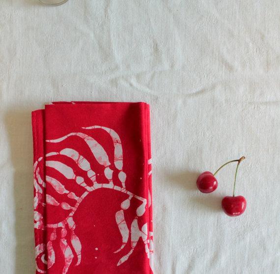 cherry red  napkins  :: margot bianca