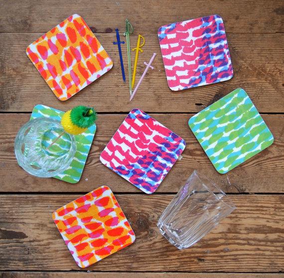 bright cork + melamine  coasters  :: jonna saarinen