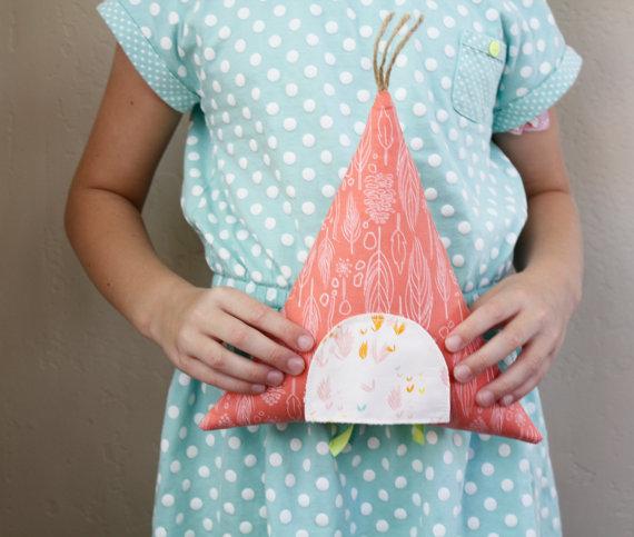 teepee tooth fairy  pillow  :: apple white handmade