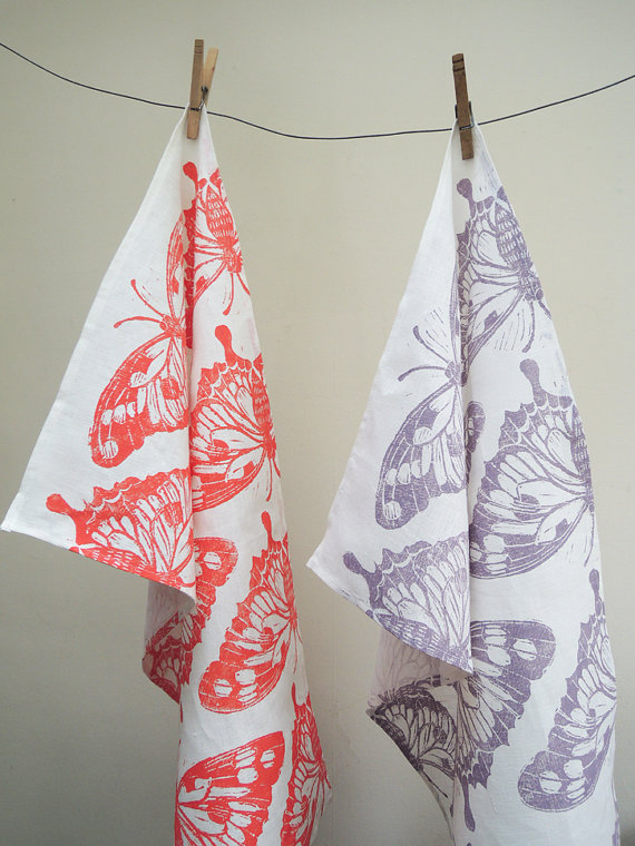 hand printed butterfly tea towels :: giardino