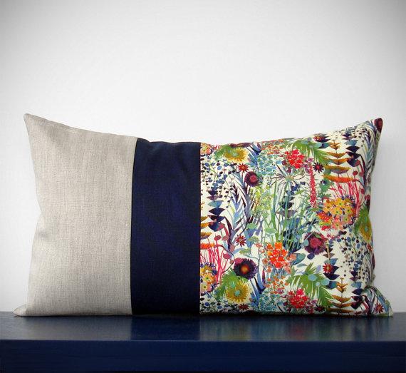 liberty of london floral color block  pillow  :: jillian rene decor
