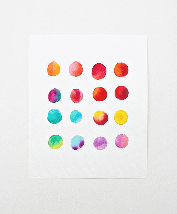 rainbow dot watercolor  print  :: sweet magoo