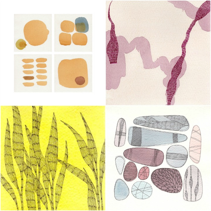 a sampling of original artwork from Francesca's shop : cellulle, mappe, botanica, pebbles