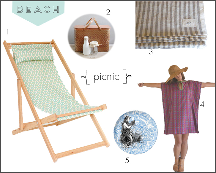 A stylish setting for a picnic on the beach.