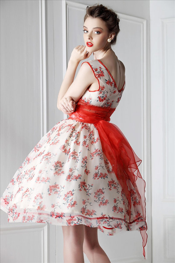 silk organza floral dress with red bow :: My Fair Lady 1950