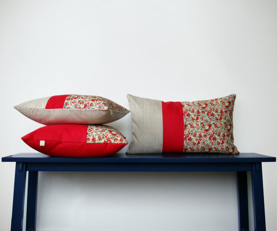 liberty of london floral + color block  pillows  :: Jillian Rene Decor
