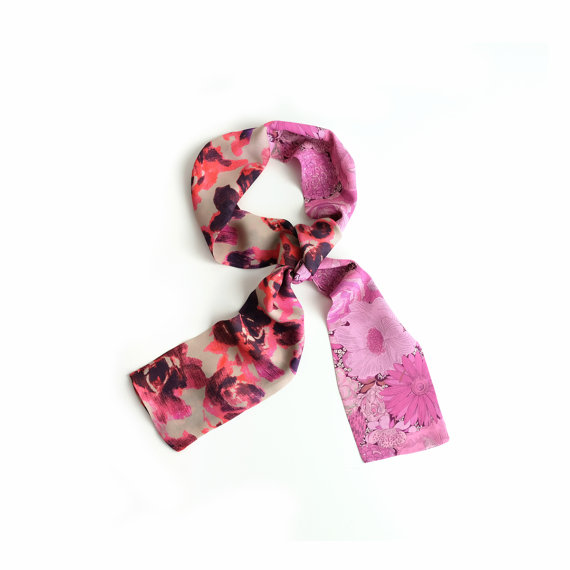 pink silk  scarf  in liberty of london print :: Cinne Worthington