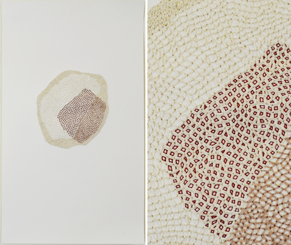 Replication, Cotton Thread on Rives BFK, 13 x 22 inches, 2013