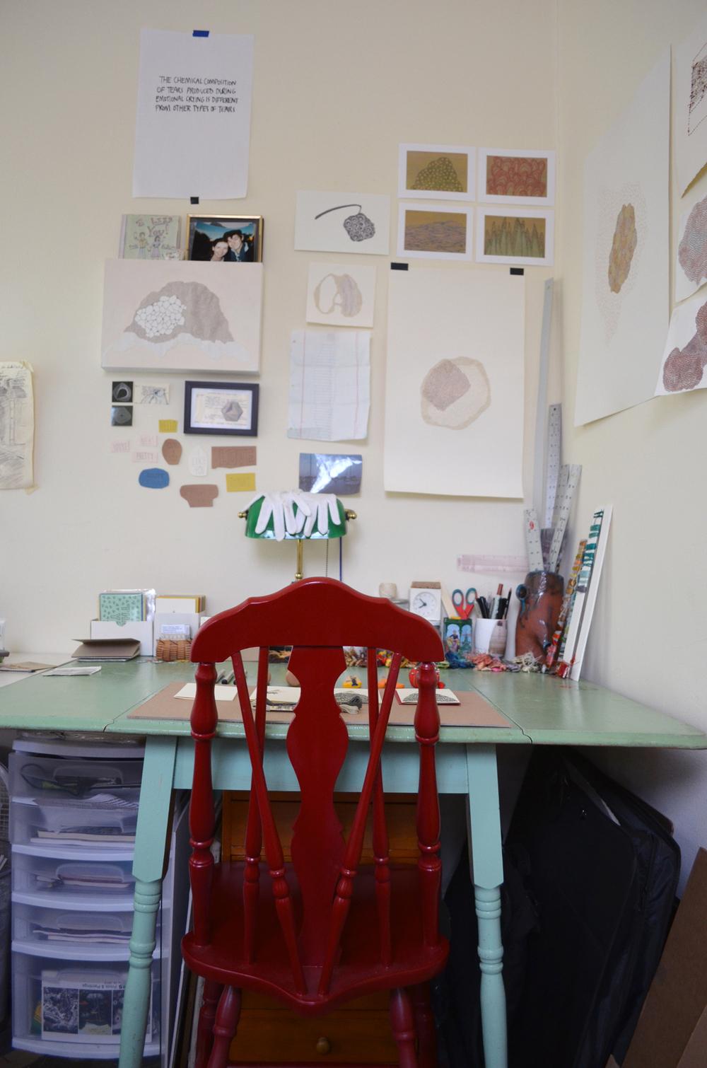 Sarah's workspace.
