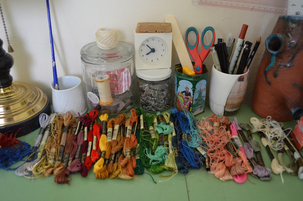 an array of thread in Sarah's studio