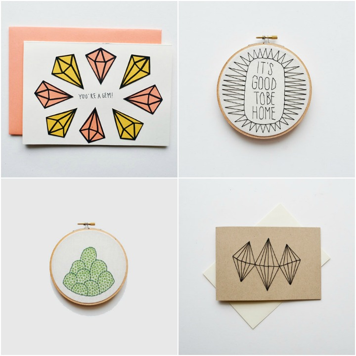 current designs available: You're a gem (hand drawn card), It's good to be home ( embroidery hoop), spring hills ( embroidery hoop) , hand stitched card