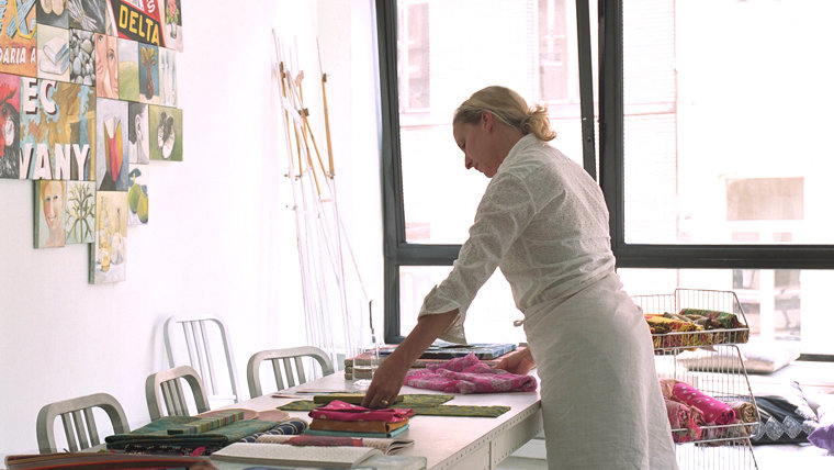 Cinne in her studio. She sells here silk scarves and necklaces in her shop  CInne Worthington .