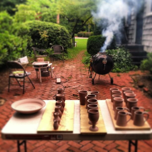 behind the studio- more pottery in process