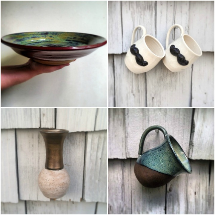a sampling of pottery:: serving bowl, mustache mugs, bud vase, blue glazed chocolate brownstone mug