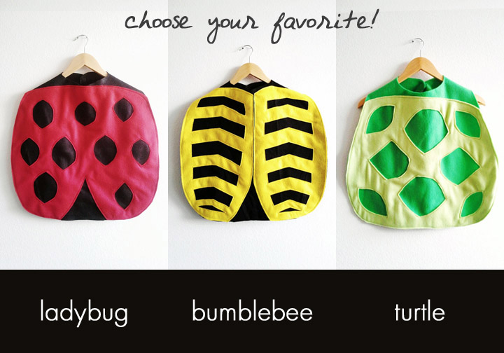 The winner will choose between a ladybug, bumblebee or turtle cape.