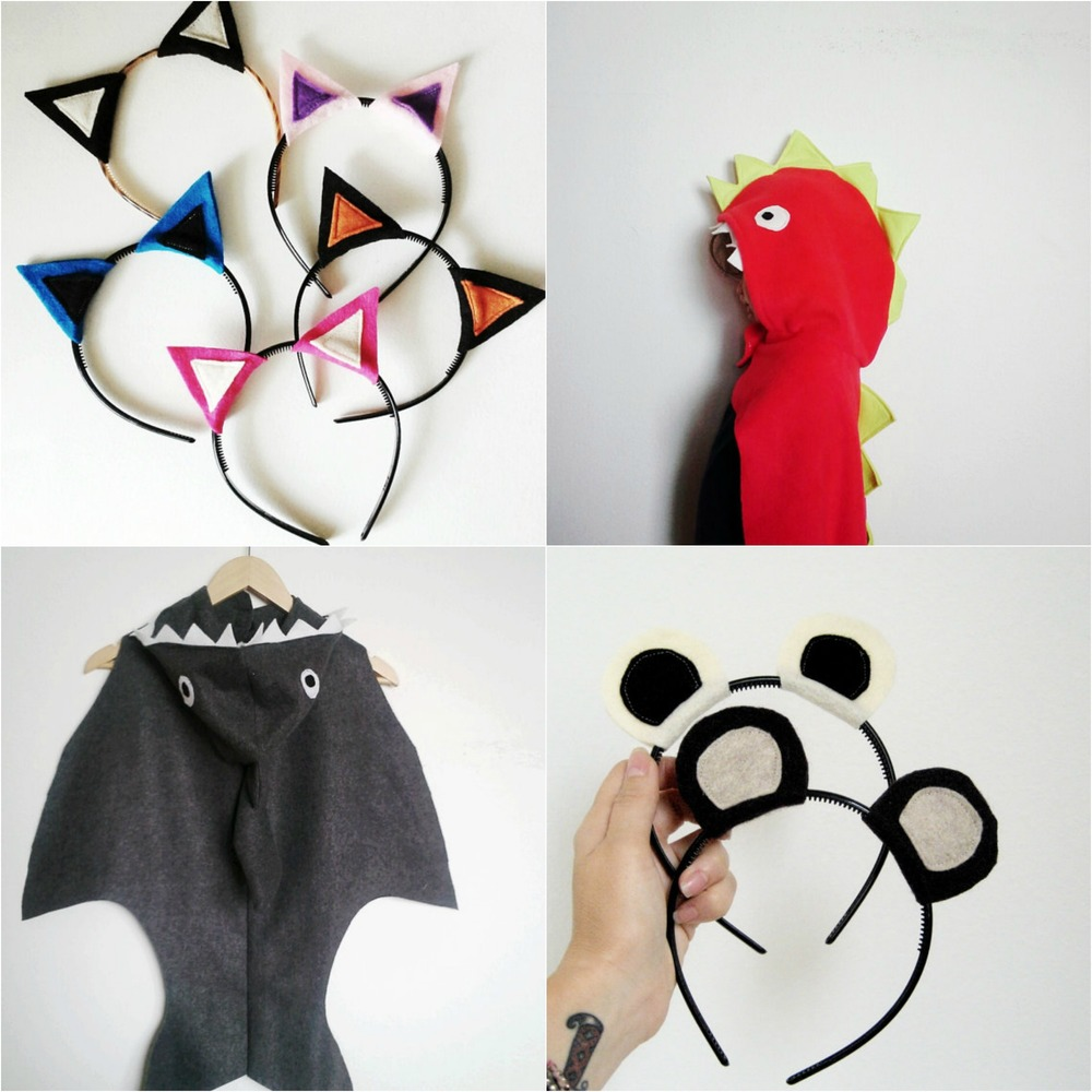 A sampling of items from Seven White Rabbits ::  cat ear's headband ,  dragon cape ,  shark cape ,  bear headband