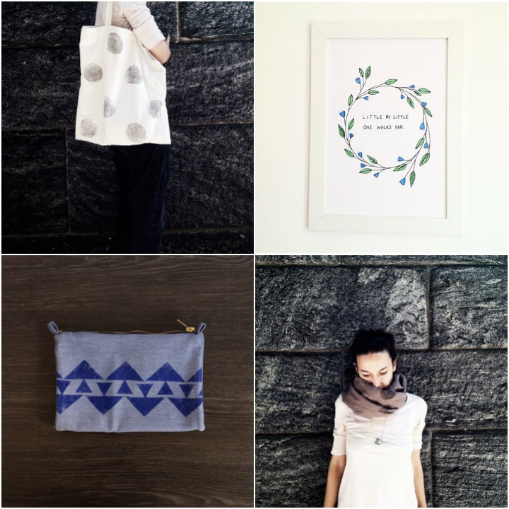 a sampling of handmade items ::  tote bag ,  nursery art,   clutch ,  scarf