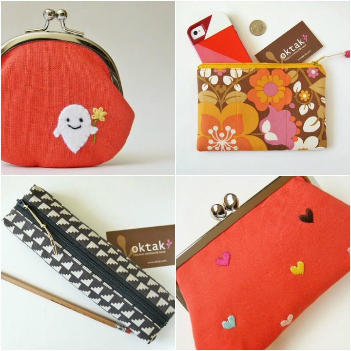 A sampling of items from Oktak ::   ghost coin purse  ,   zipper pouches  ,   medium heart purse
