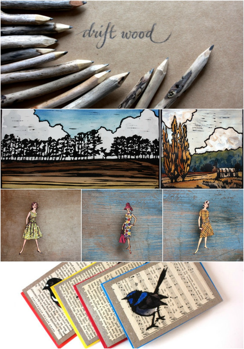 a sampling of items from trees 4 the wood :: driftwood  pencils , linocut  prints ,  brooches ,  cards