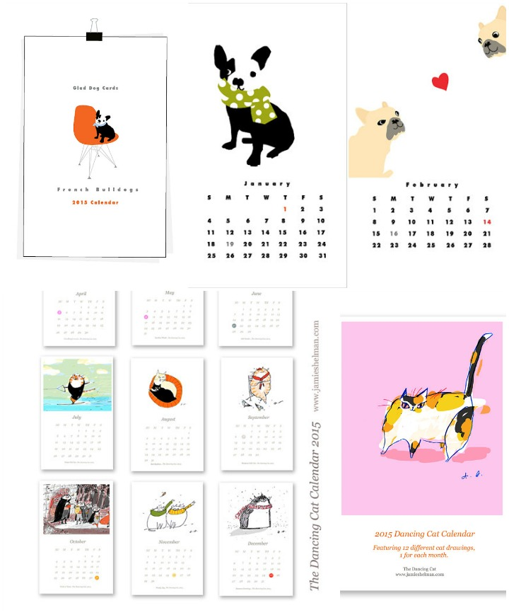 Dog and Cat calendars  ::  French Bulldogs  :: lizzy clara &  Dancing Cat  :: jamie shelman