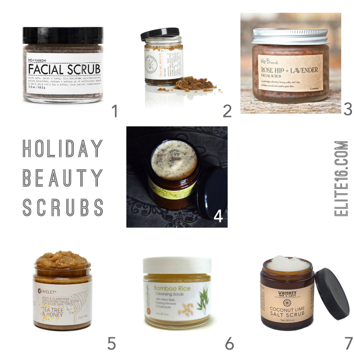 1. Facial Scrub by fig and yarrow  2. Demerara Facial Scrub by ha'andah products  3. Rose Hip & Lavender Scrub by wild botanicals  4.  Pink Sugar Facial Scrub by sylva pagana  5. Tea Tree & Honey Scrub by ayelet naturals  6. Bamboo Rice Cleansing Scrub by natural logic  7.  Coconut Lime Salt Scrub by whiskey ink & lace