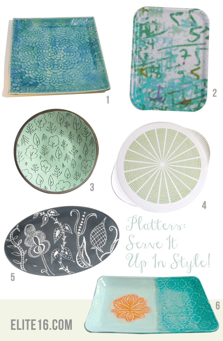 1.   Turquoise Lace Serving Tray   by tamarack stoneware  2.   Melamine Wood Tray   by birribe  3.   Tree Stoneware Platter   by karo art  4.   Mid-Century Modern Tray   by mungo and midge  5.   Gray Serving Platter   by ceramica botanica  6.   Lotus Serving Tray   by clay shapes