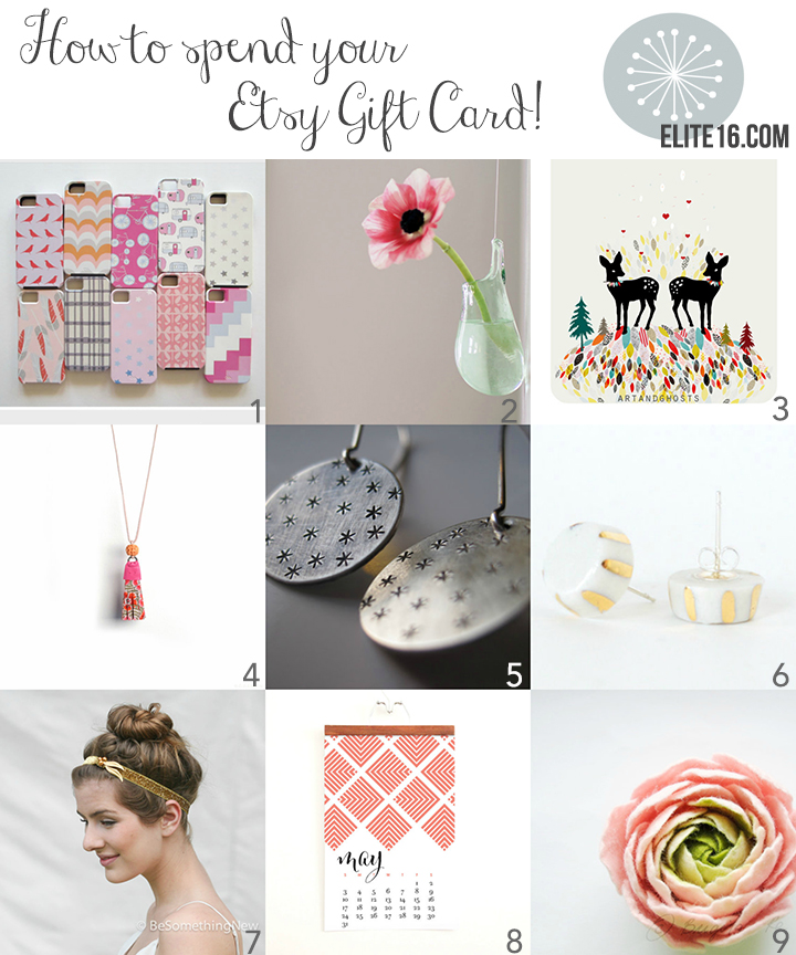 1. iPhone 6 Case by red tile studio  2. Air Plant Hanging Vase by avolie glass  3. Deer Love Print by little ghost  4.  Tassel Necklace by c banning accessories  5. Sterling Silver Earrings by nature of art  6. Porcelain Earrings with Gold by jd ceramic design  7. Gold Glitter Head Band by be something new  8. Modern Wall Calendar by christine marie b  9. Felt Ranunculus Flower Brooch by bridget studio