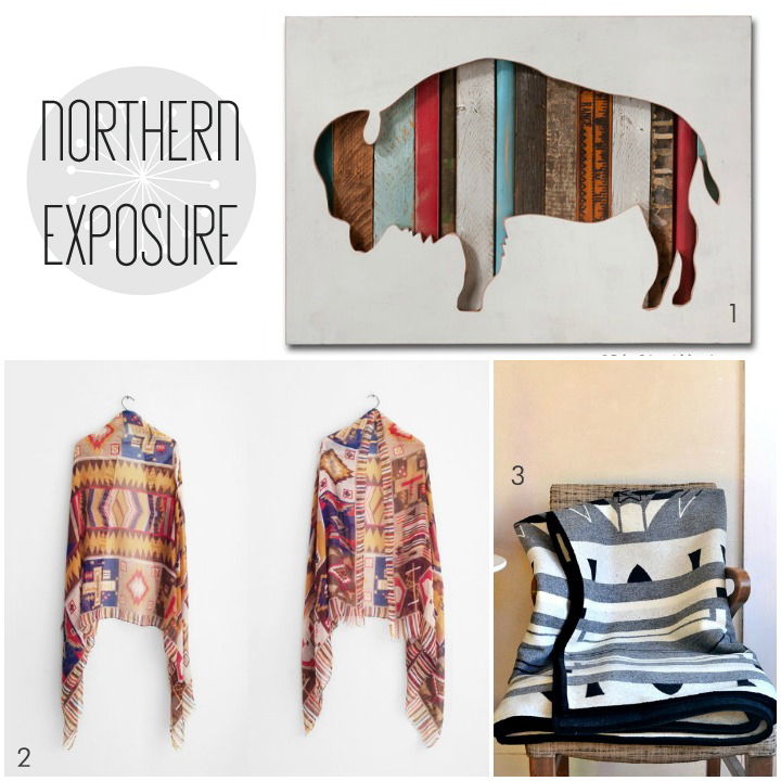 1. buffalo art by dolan geiman 2. vintage scarf by miso vintage 3. wool blanket by oh this nose