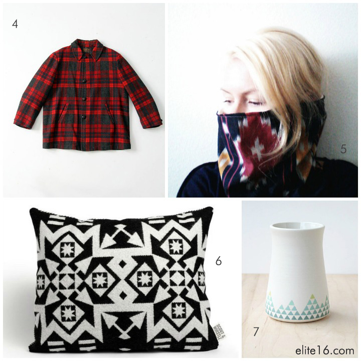 4. vintage coat by iron charlie 5. cowl scarf by seven white rabbits 6. wool pillow by scout and whistle 7. porcelain vase by paulova