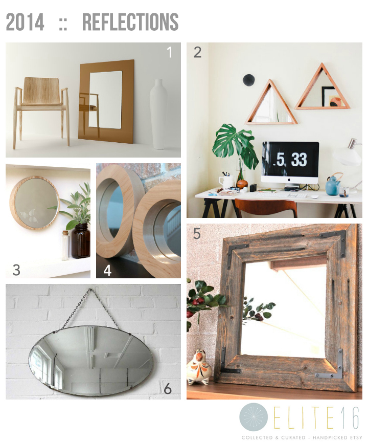 1.  Large Wall Hanging Modern Mirror  by mirror cooperative  2.  Reclaimed Wood Triangle Mirror  by we are mfeo  3.  Decorative Leaves Wall Mirror  by studio rust  4.  Set of 3 Maple Round Mirrors  by musheno woodworking  5.  Rustic Modern Mirror  by hurd and honey  6.  Vintage Oval Bevelled Mirror  by uuli polli