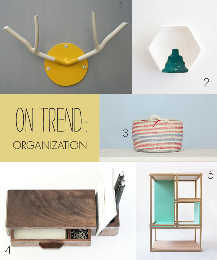1.  wall hook  by formed and found  2.  ring dish  by hello plum studio  3.  basket  by citizen london 4.  office organizer  by wood storming  5.  bookshelf  by studio lorier