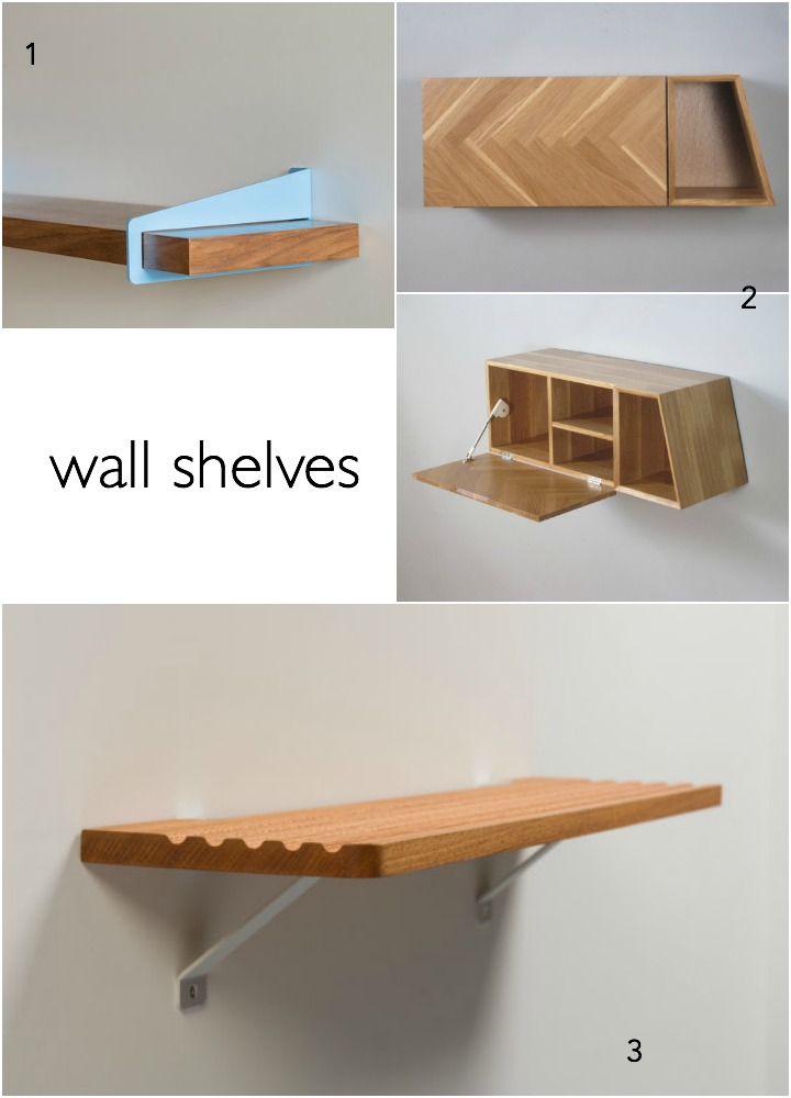 1. wall shelf bracket by quartertwenty  2.  herringbone wall cabinet by axelrod furniture   3. sterling shelf by simple vision