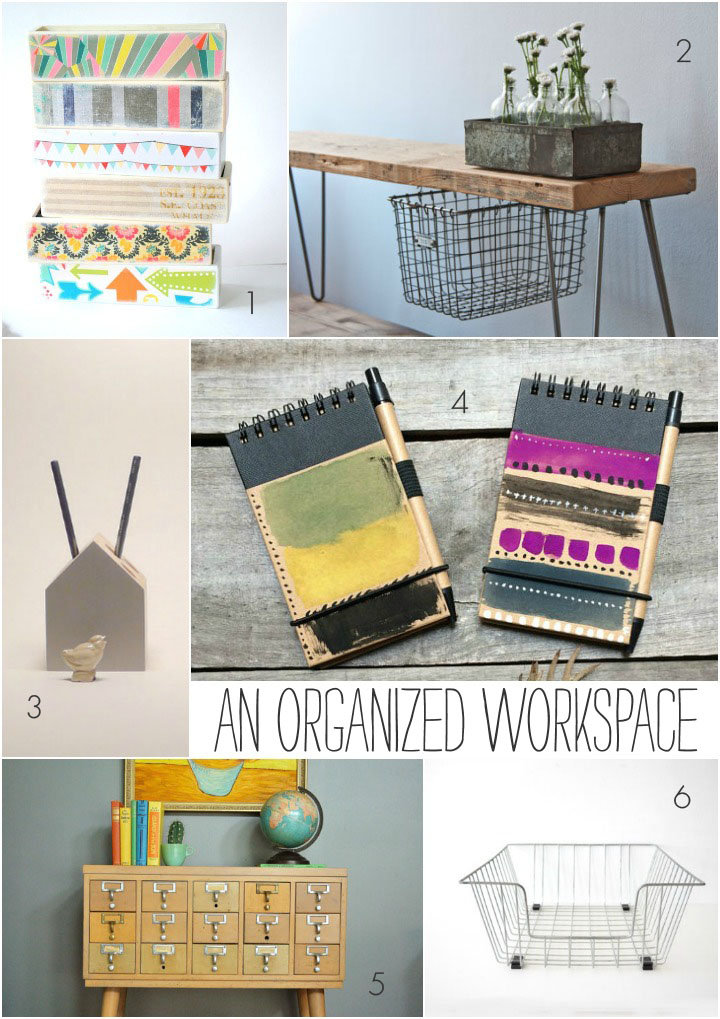 1. pencil boxes by mmim  2. bench by urban wood goods  3. pencil holder by the bird on the tree  4. notebook by fiona zakka  5. vintage card catalog by the white pepper   6. vintage wire basket by elizabeth wren