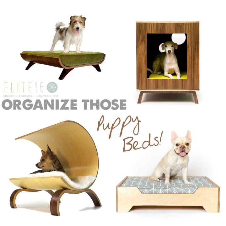 Top Left :: Heywood Dog Bed by cairu design  //  Top Right :: Modern Pet Furniture by modernist cat  //  Bottom Left :: Dog Pod 2.0 by vurv design  //  Bottom Right :: The Cinder Pet Bed by eat sleep fetch