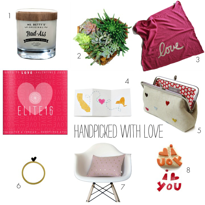 1. candle by Ms. Betty's Original Bad Ass candles   2. heart shaped succulent planter by rootopia  3. love dish towel by nest home  4. long distance love card by atiliay  5. heart clutch by oktak  6. heart ring by this and that gallery   7. studded pillow by jillian rene decor   8. I love you stamp by creatiate