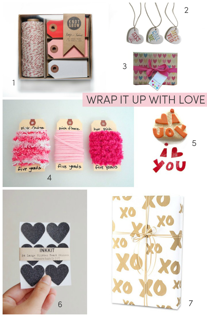 1.  tag + twine set  by knot and bow  2.  ceramic gift tags  by catherine reece  3.  gift wrap kit  by toodles noodles  4.  gift wrap trim  by metro cottage  5.  I heart you stamp  by creatiate  6.  black glitter heart stickers  by inkkit  7.  valentine's gift wrap  by lala grace